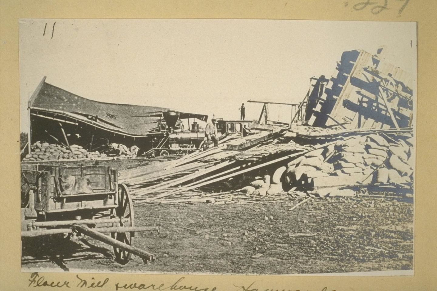 A flour mill destroyed by an earthquake on the Hayward Fault on October 21, 1868.