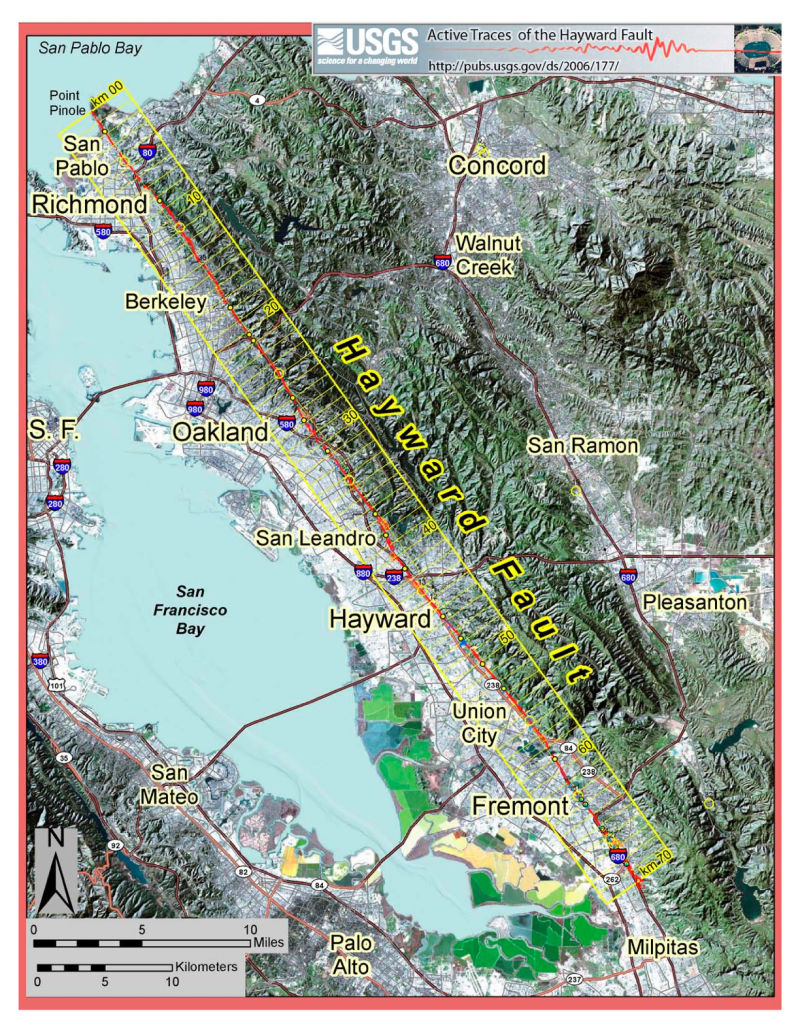 The Hayward Fault runs through much of the East Bay.