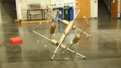 This is the most recent tensegrity robot prototype created by Alice Agogino's lab. The computers and motors that control movement are located in the pods.