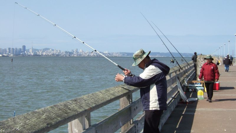 Fishermen cast for a catch at the Berkeley Pier.