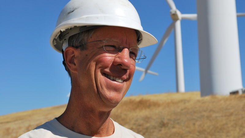 Doug Bell, wildlife program manager at the East Bay Regional Park District, visits Buena Vista wind farm in July. In 2007 Buena Vista was one of the first wind farms in the Altamont Pass where old turbines were replaced with new ones.