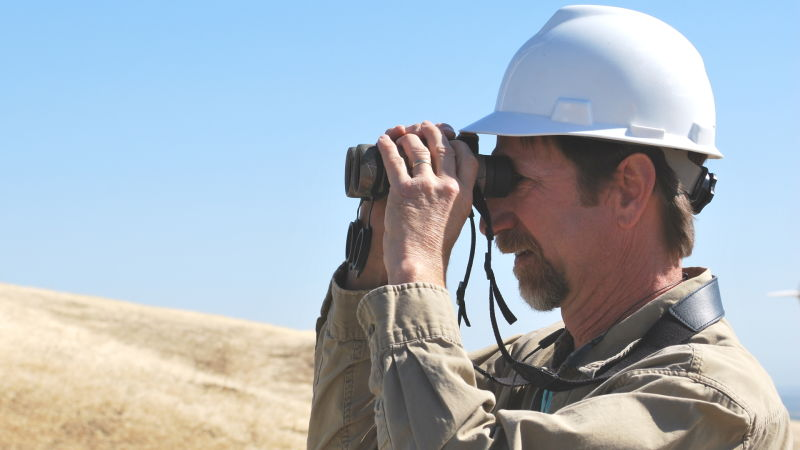 Biologist Joe DiDonato looked for golden eagles at the Buena Vista wind farm, in the Altamont Pass, in July.