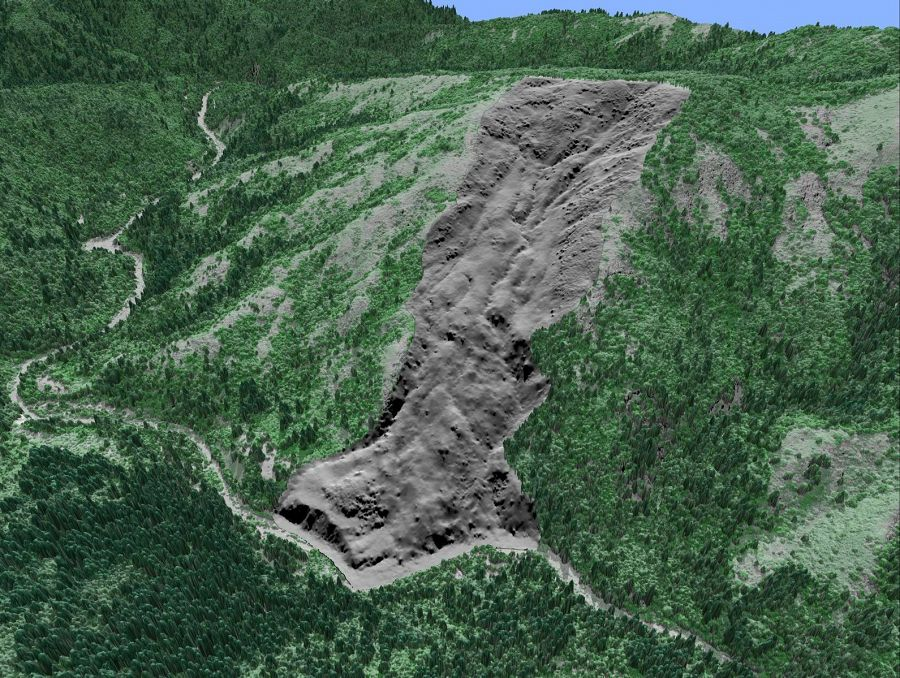 LiDAR image illustrating a deep seated landslide underneath vegetative cover at the South Fork Eel River confluence with Tenmile Creek.