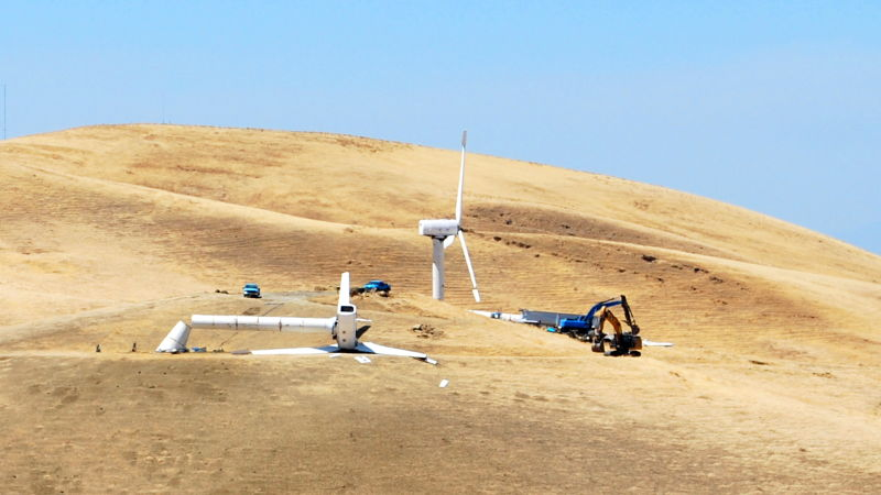 Workers pulled down this wind turbine at the Tres Vaqueros wind farm in the Altamont Pass in July. All throughout the Altamont, companies are tearing down old turbines.