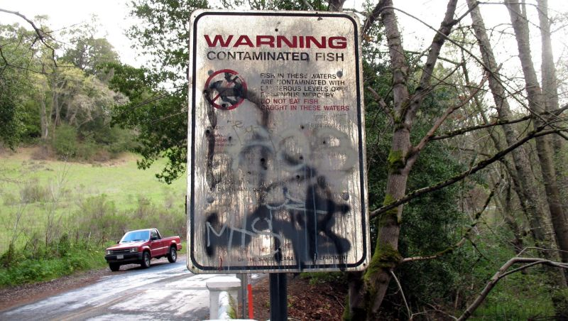 A sign warns visitors about the danger of mercury contamination in the Guadalupe River watershed.