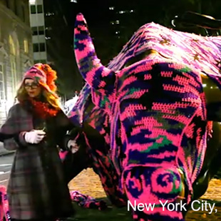Go behind the scenes with Olek and her large-scale crocheted artworks.