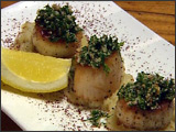 Seared Sea Scallops with Preserved Lemon Grenolata and Sunchoke Puree