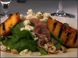 Arugula Salad with Grilled Peaches, Prosciutto, Hazel Nuts and Pt. Reyes Original Blue