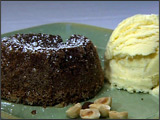 Chocolate Souffle Cake with Tahitian Vanilla Ice Cream and Hazelnuts