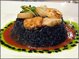 Risotto Nero Con Capesante alla Veneziana Black Ink Risotto with Seared Scallops and Lobster Bisque