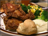 Fried Chicken with Mashed Potatoes, Vegetables and Biscuit