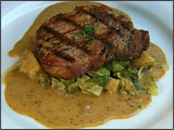 Pork Chop and Brussels Sprouts with Cider Mustard Sauce