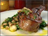 Rosemary Pork Chop with Lima Beans