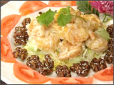 Coconut Walnut Prawns with Sesame Seeds and Cantaloupe