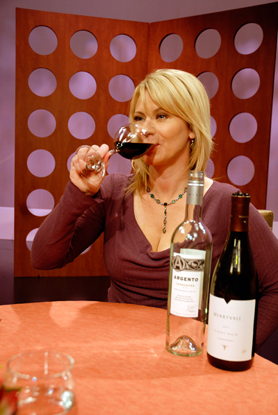 Leslie Sbrocco tasting wine from Check, Please! Bay Area episode 603