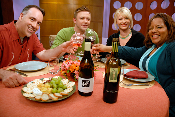 Check, Please! Bay Area guests and host on set with wines from episode 611
