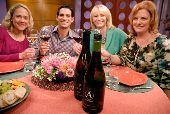 Check, Please! Bay Area guests and host on set with wines from episode 612