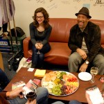 Guests from episodes 705 and 706 socialize in the green room at KQED