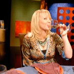 Leslie Sbrocco drinking on the set of Check, Please! Bay Area - episode 703