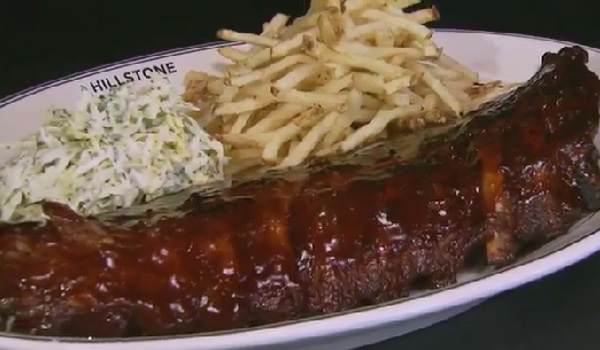 BARBEQUED BEEF BACK RIBS with hand-cut fries and coleslaw from The Hillstone