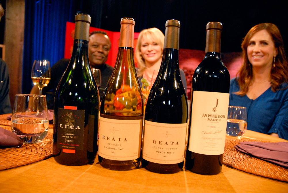 Wines that Leslie Sbrocco and guests drank on the set of Check, Please Bay Area episode 912. Photo: Wendy Goodfriend