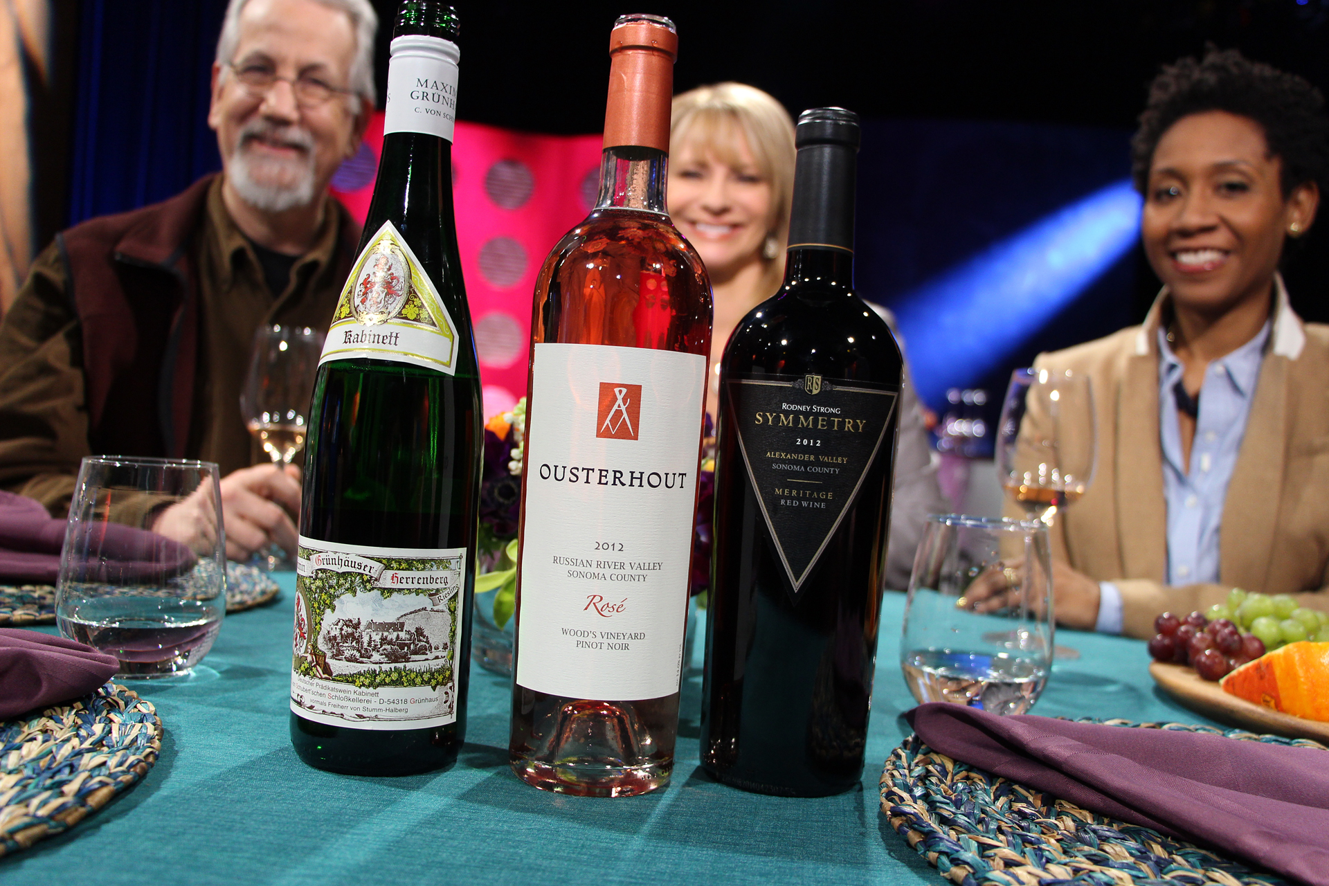 Check, Please! Bay Area host Leslie Sbrocco and guests drank these wines on the set of the second episode of Season 10. Photo: Wendy Goodfriend