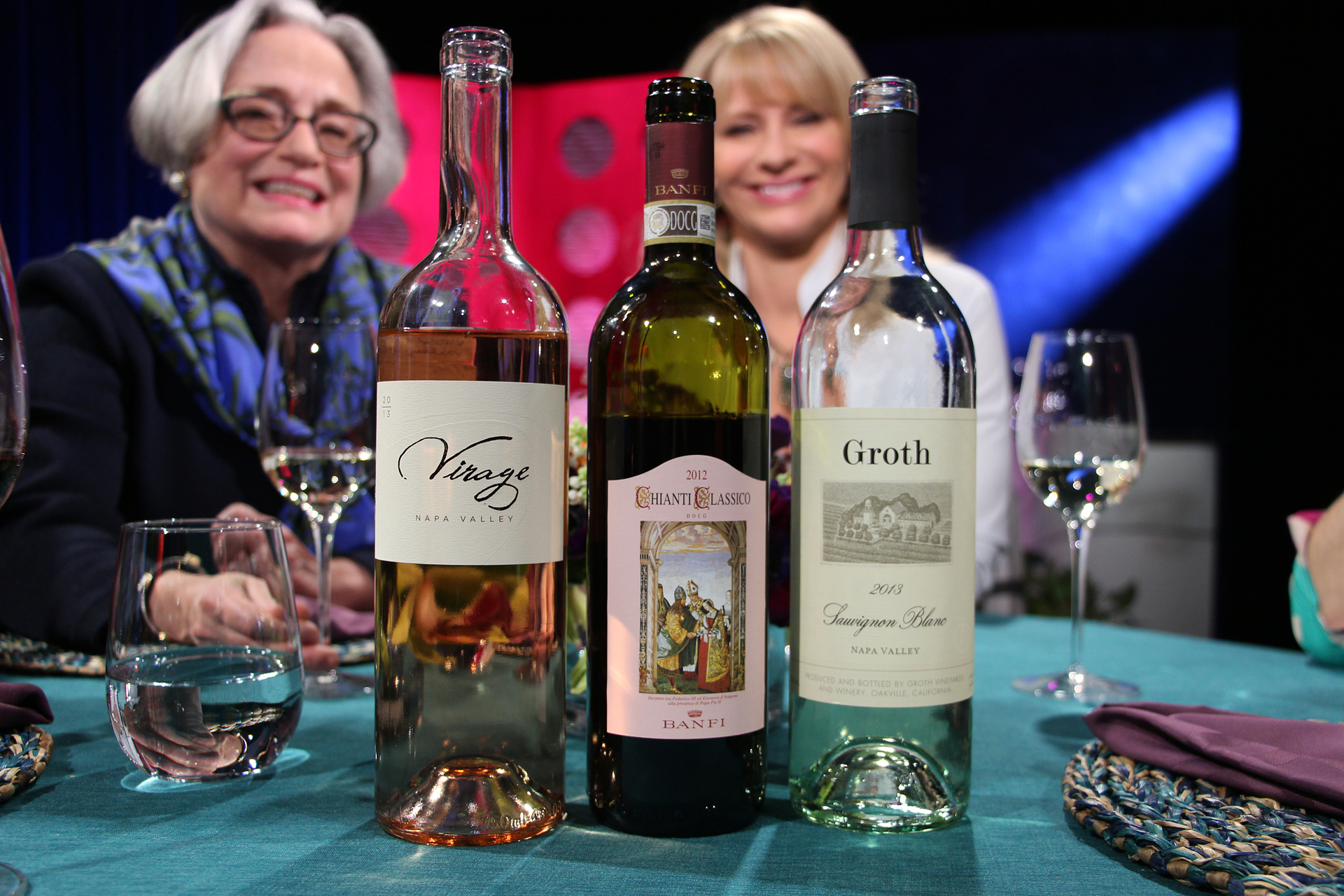 Check, Please! Bay Area host Leslie Sbrocco and guests drank these wines on the set of the Season 10 Premiere. Photo: Wendy Goodfriend