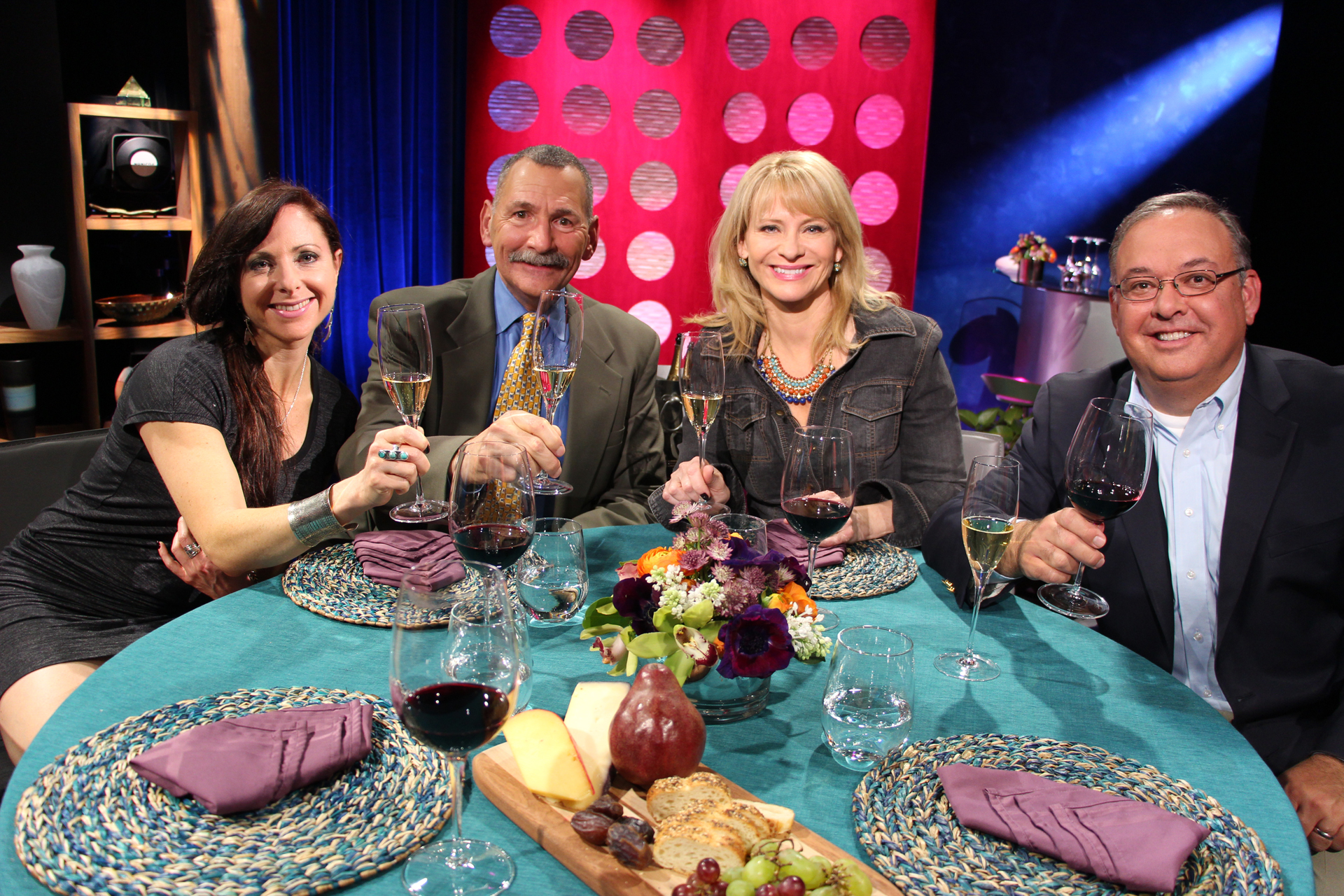Check, Please! Bay Area host Leslie Sbrocco and guests on set for the third episode of Season 10. Photo: Wendy Goodfriend