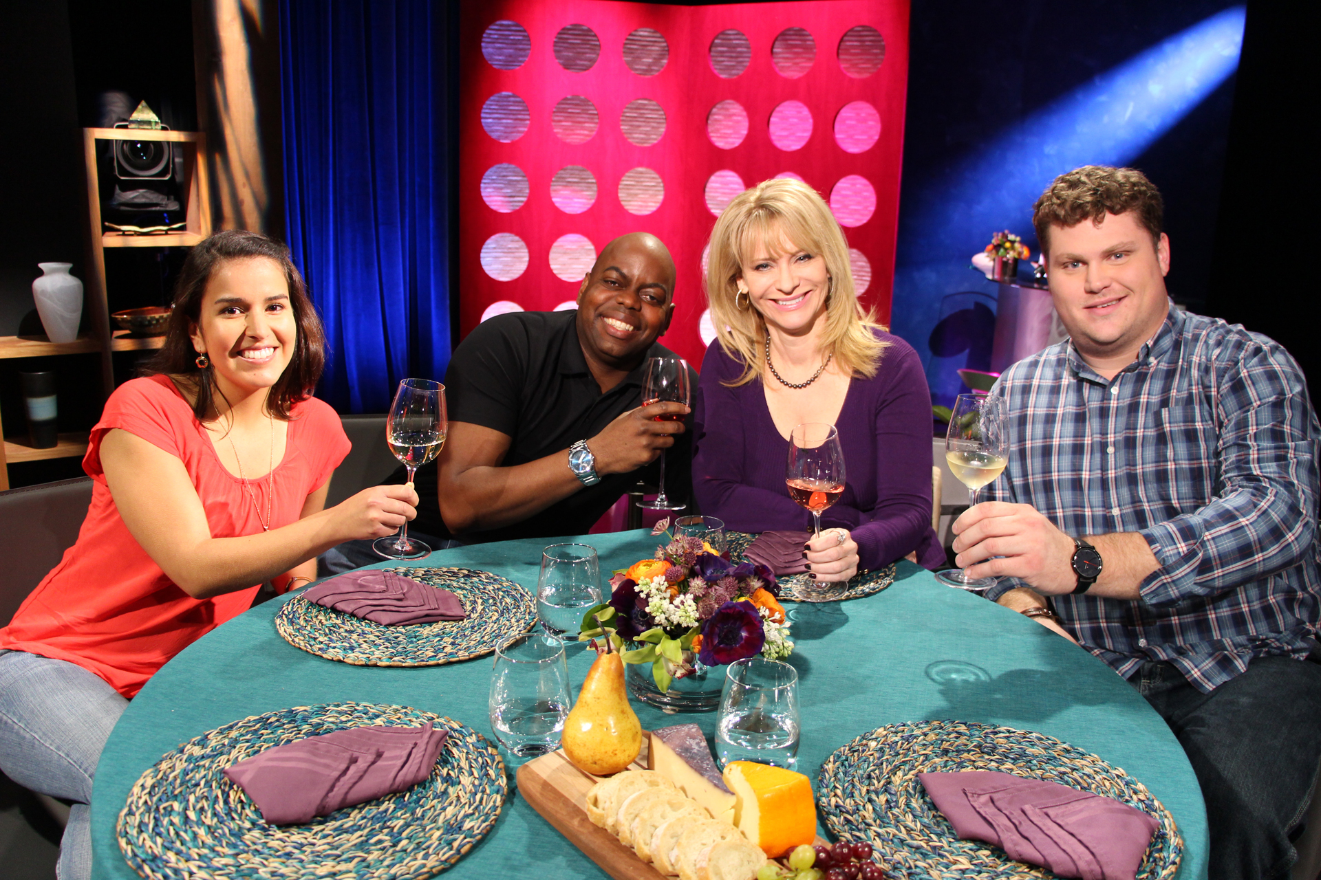 Check, Please! Bay Area host Leslie Sbrocco and guests on set for the fourth episode of Season 10. Photo: Wendy Goodfriend