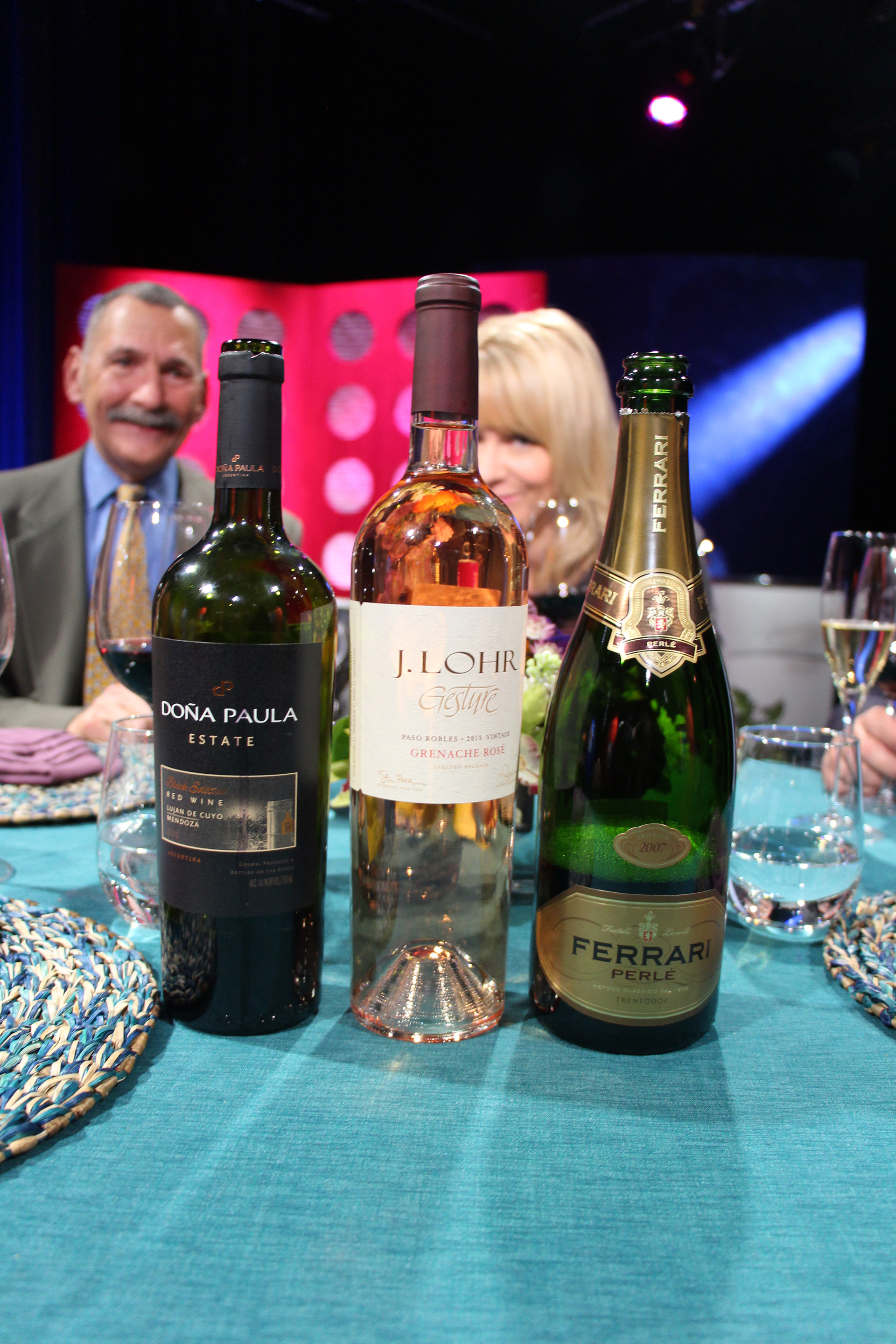 Check, Please! Bay Area host Leslie Sbrocco and guests drank these wines on the set of the third episode of Season 10. Photo: Wendy Goodfriend