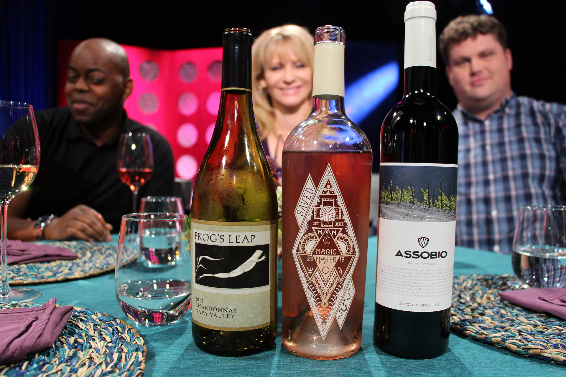 Check, Please! Bay Area host Leslie Sbrocco and guests drank these wines on the set of the fourth episode of Season 10. Photo: Wendy Goodfriend