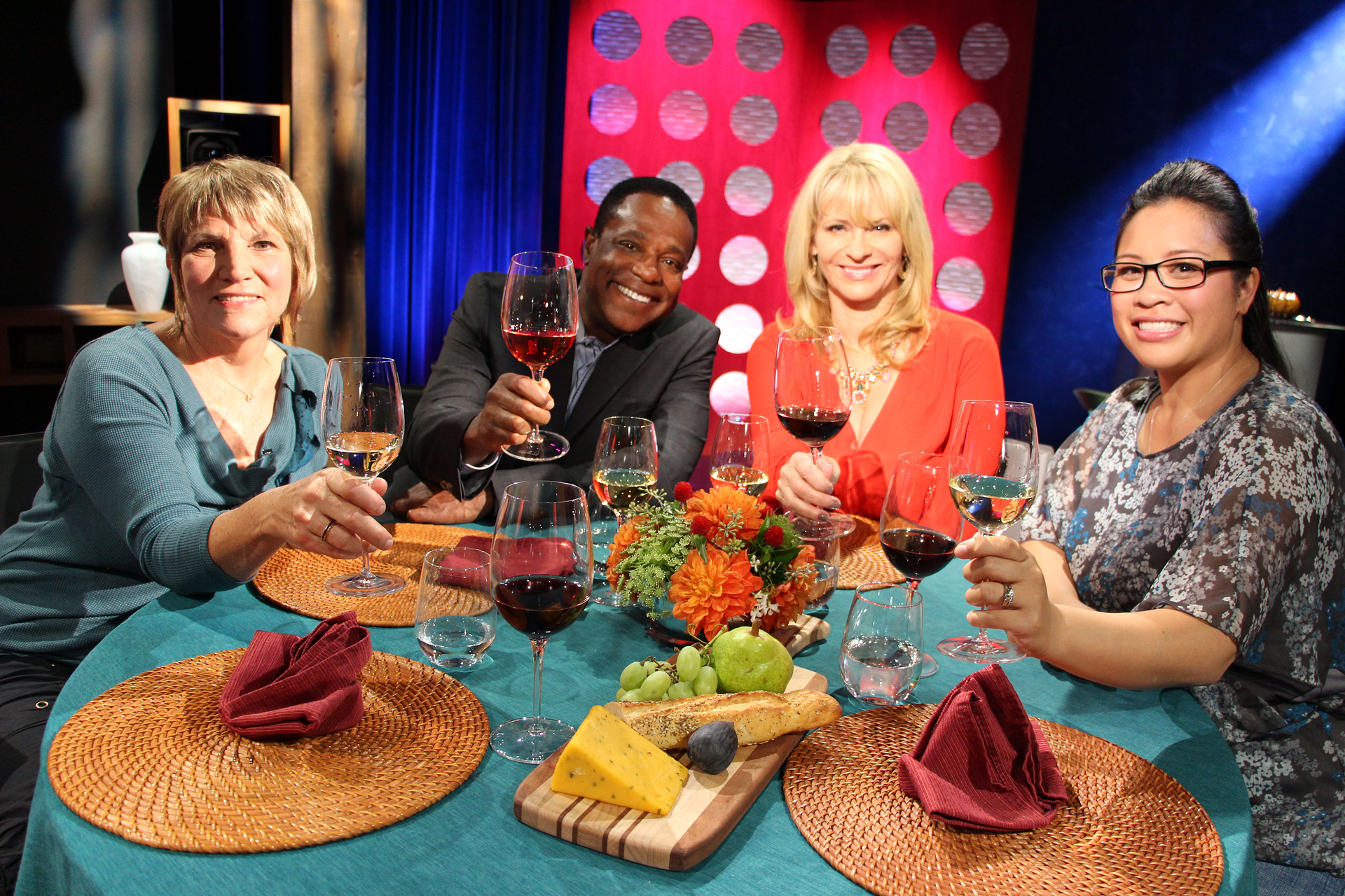 Check, Please! Bay Area Host Leslie Sbrocco and guests on the set of the sixth episode of season 10.