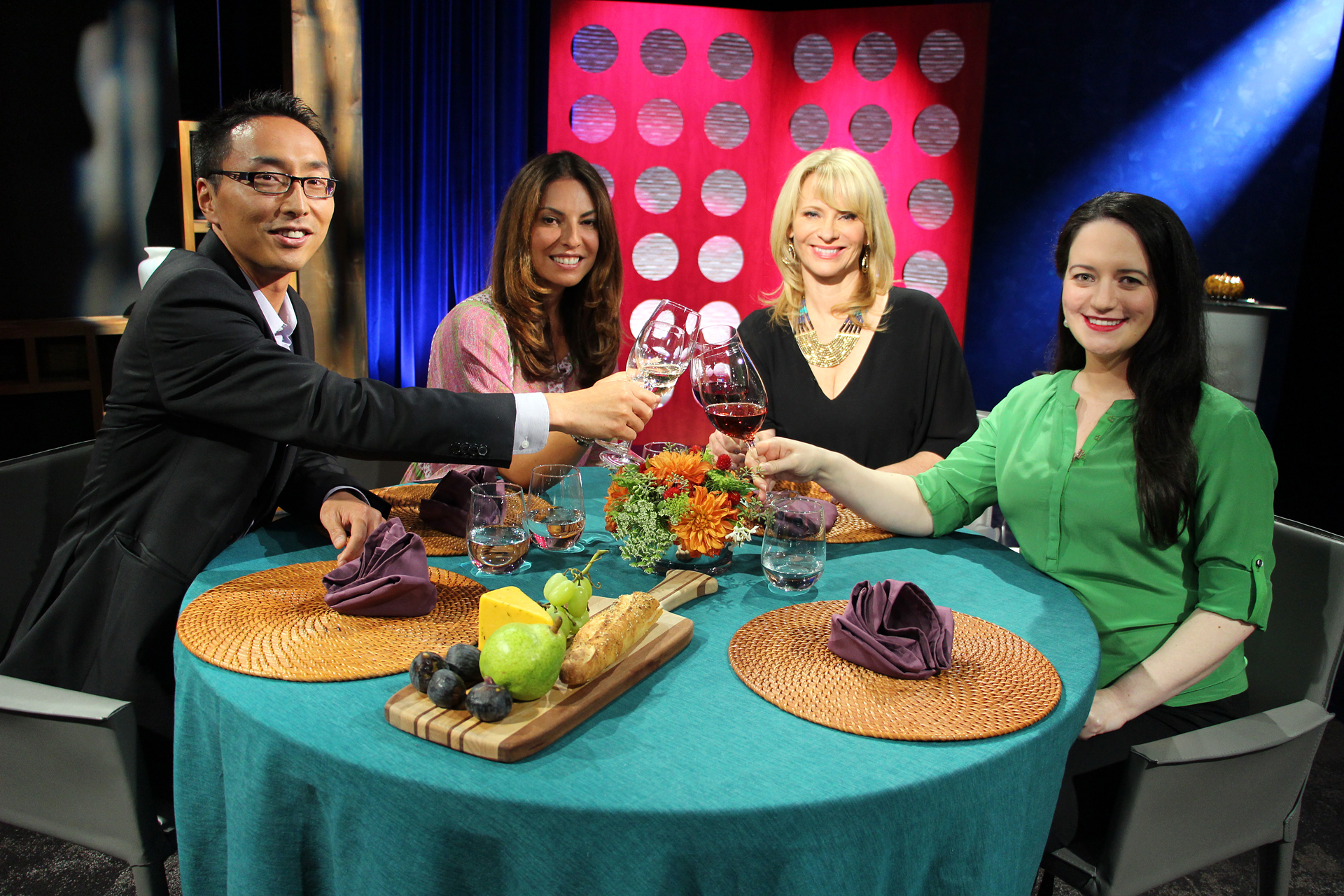 Host Leslie Sbrocco and guests on the set of the ninth episode of season 10.