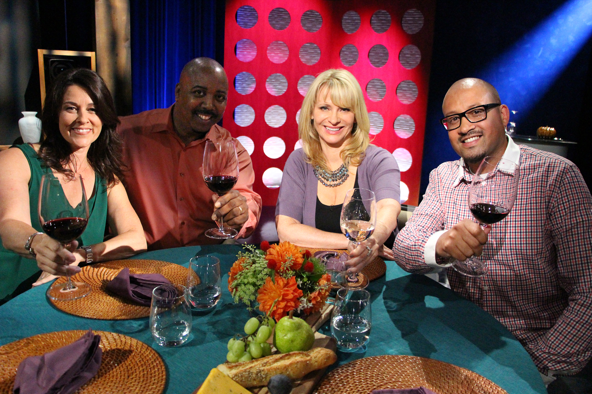 Check, Please! Bay Area Host Leslie Sbrocco and guests on the set of the seventh episode of season 10.