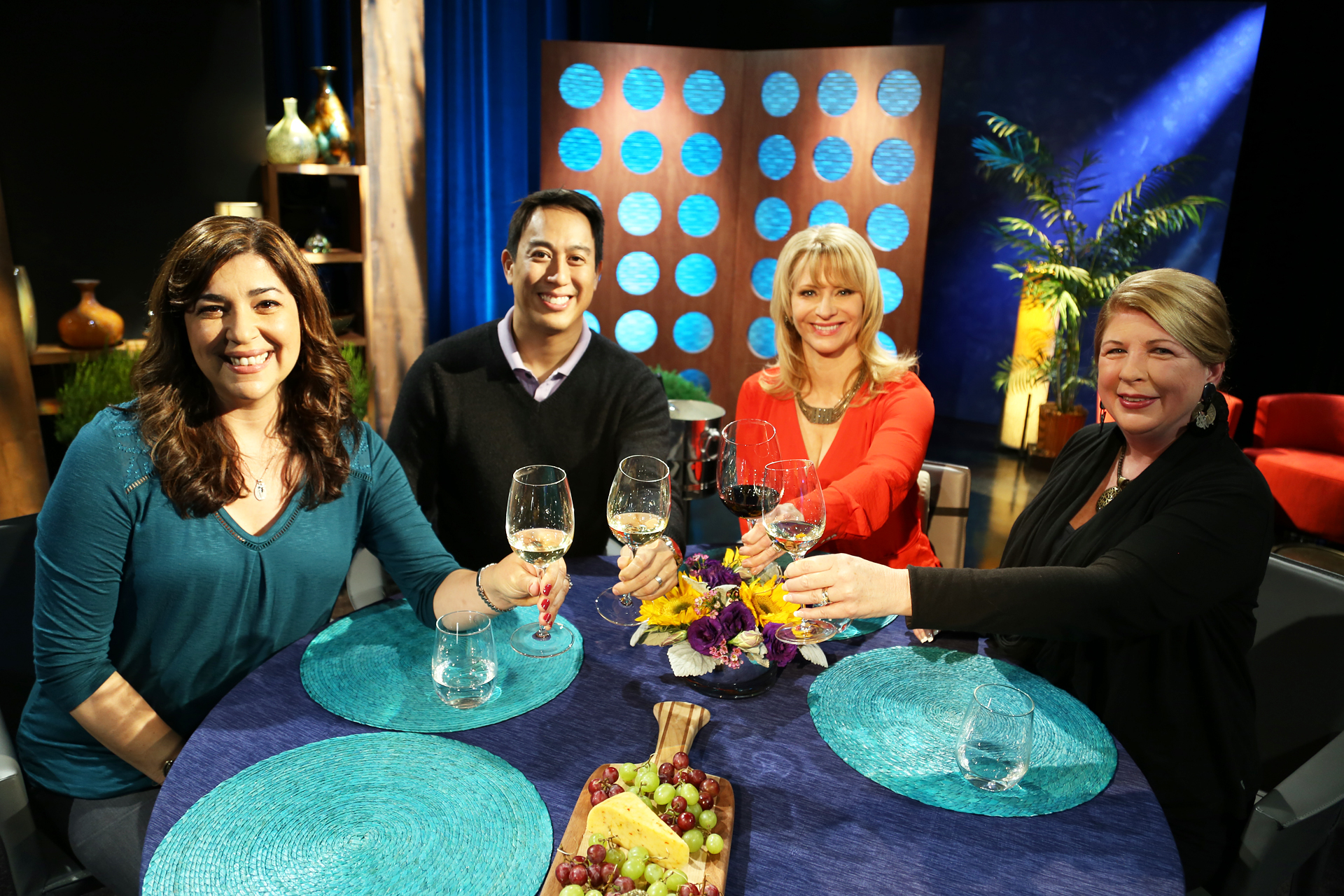 Host Leslie Sbrocco and guests on the set of the premiere episode of season 11.