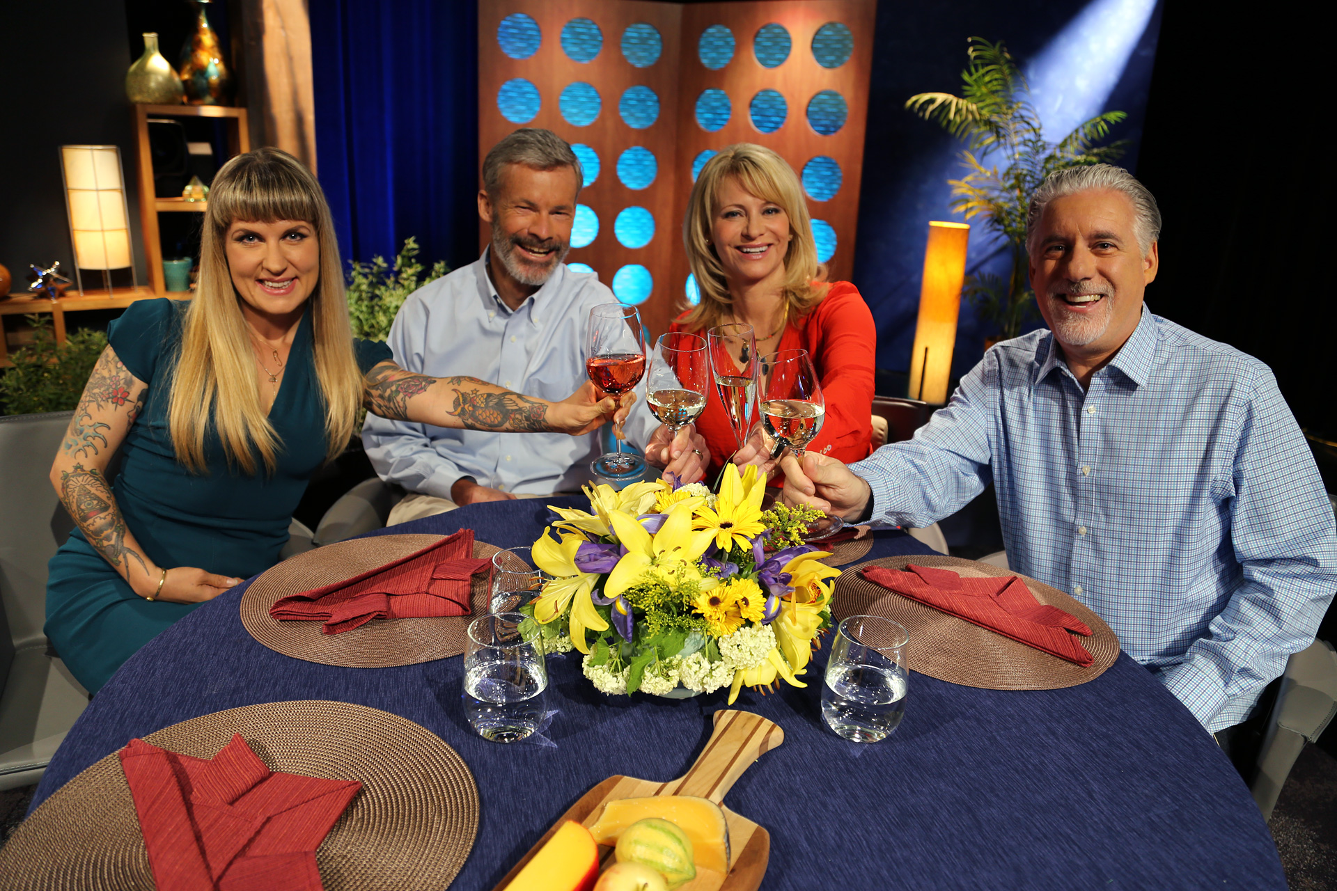 Host Leslie Sbrocco and guests on the set of the episode 11 of season 11.