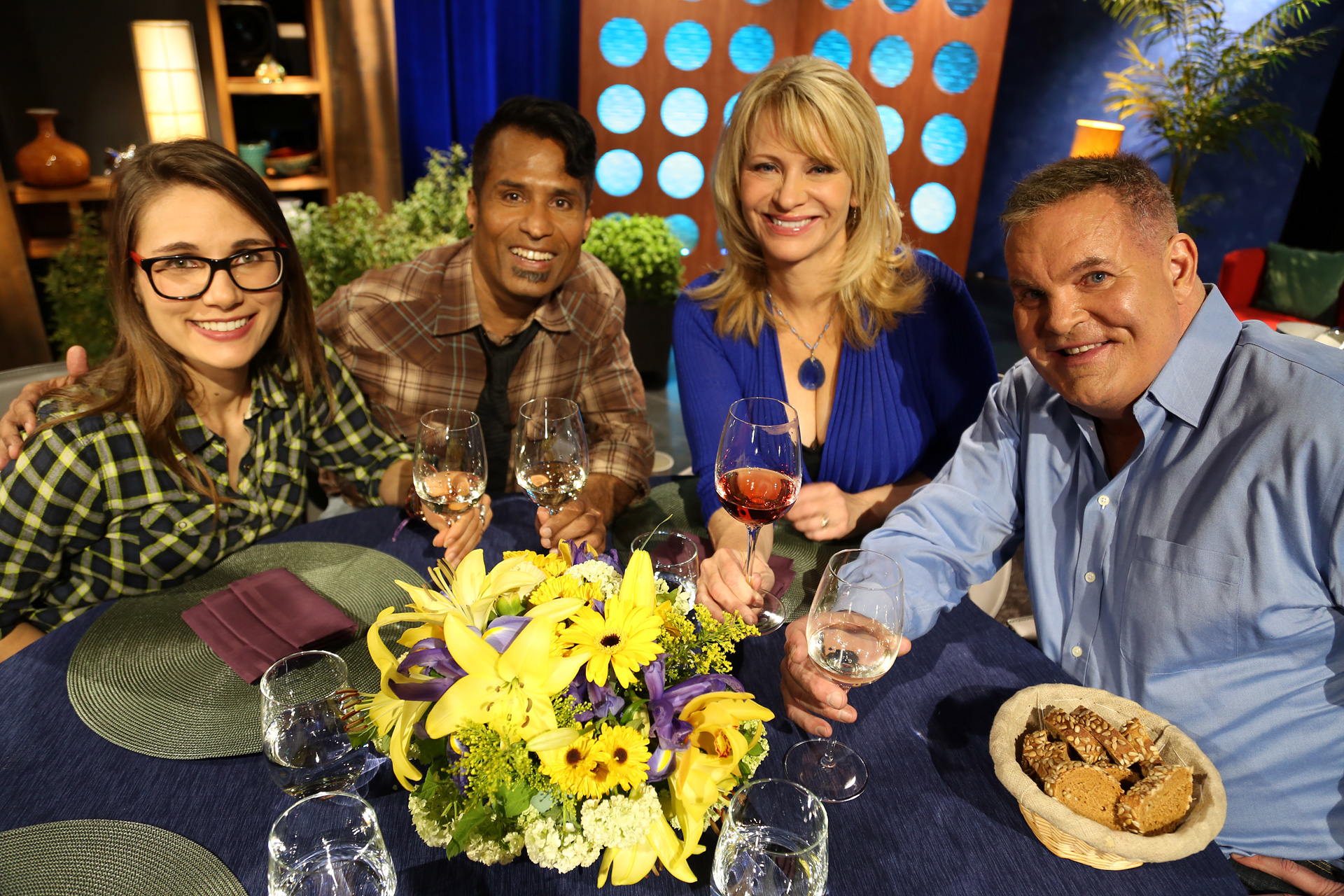 Host Leslie Sbrocco and guests on the set of the episode 11 of season 14.