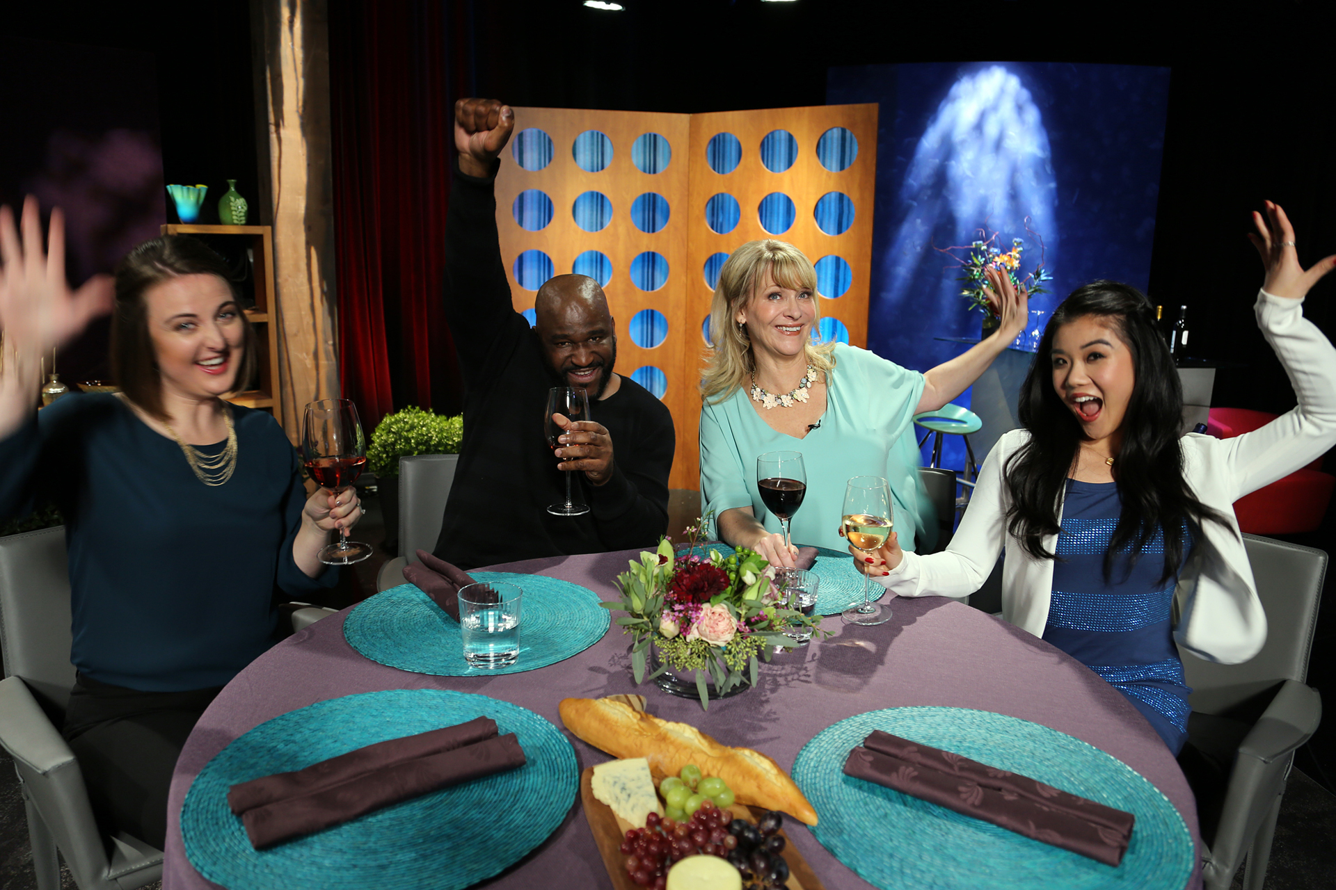 Host Leslie Sbrocco and guests having fun on the set of season 12 episode 3.