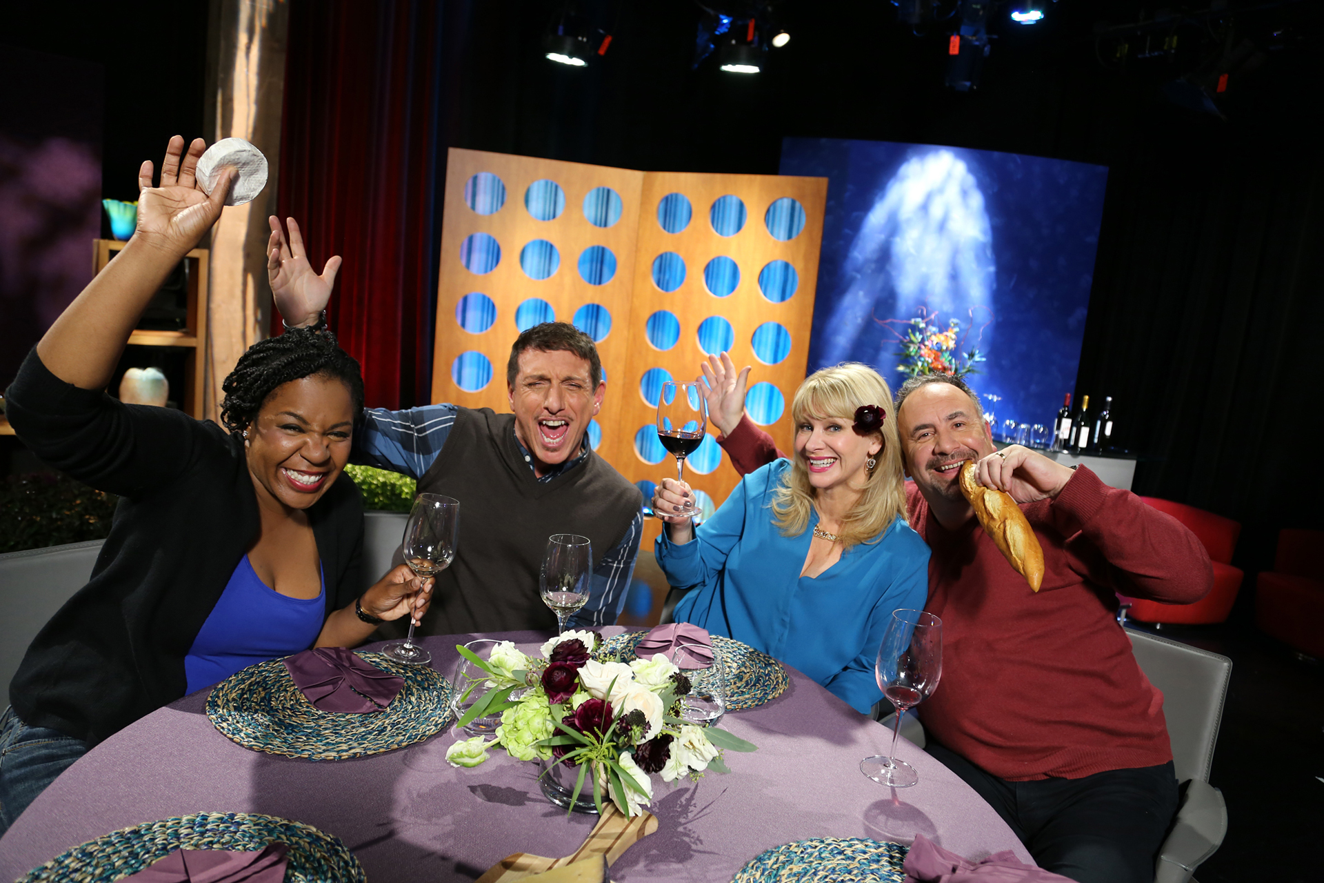 Host Leslie Sbrocco and guests having fun on the set of season 12 episode 2.