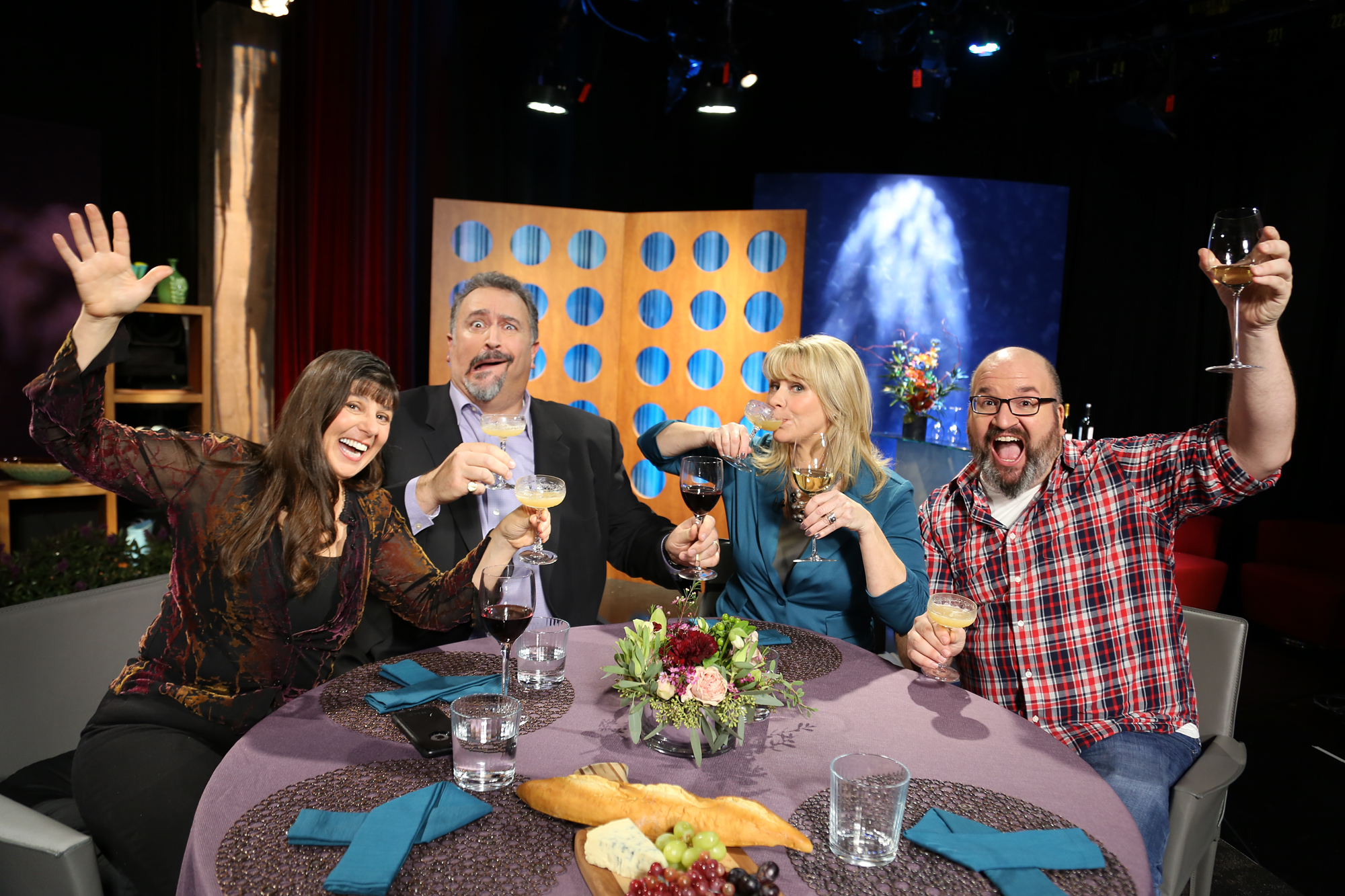 Host Leslie Sbrocco and guests having fun on the set of season 12 episode 6.