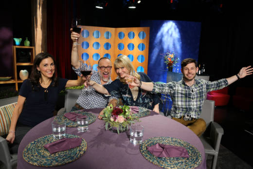 Host Leslie Sbrocco and guests having fun on the set of season 12 episode 5. Photo: Wendy Goodfriend