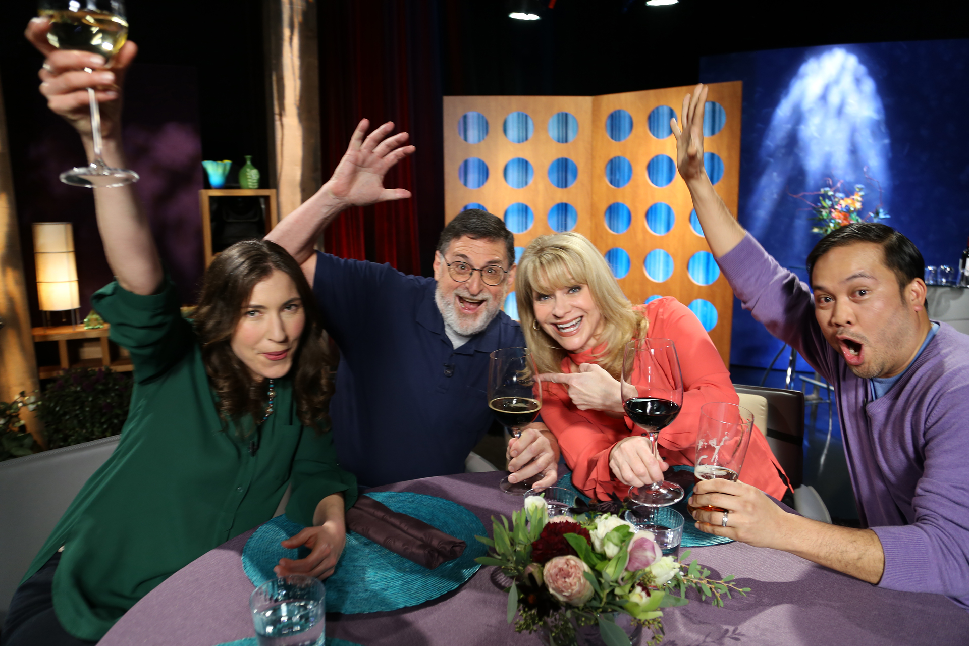 Host Leslie Sbrocco and guests having fun on the set of season 12 episode 4.