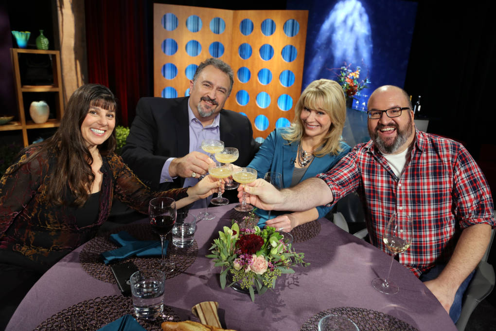 Host Leslie Sbrocco and guests on the set of season 12 episode 5. Photo: Wendy Goodfriend