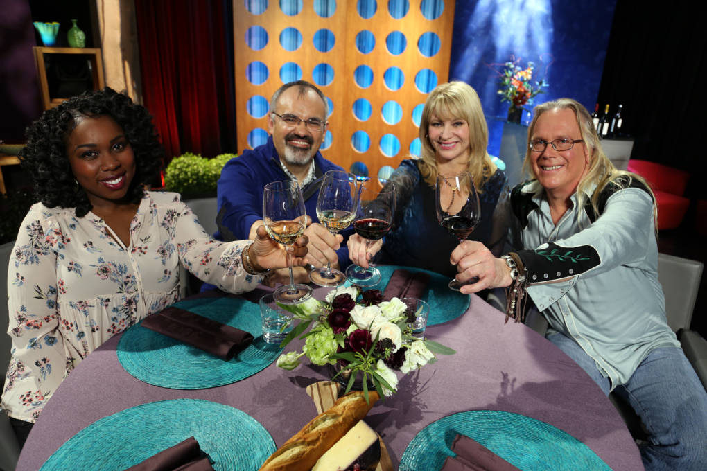 Host Leslie Sbrocco and guests on the set of season 12 episode 7. Photo: Wendy Goodfriend