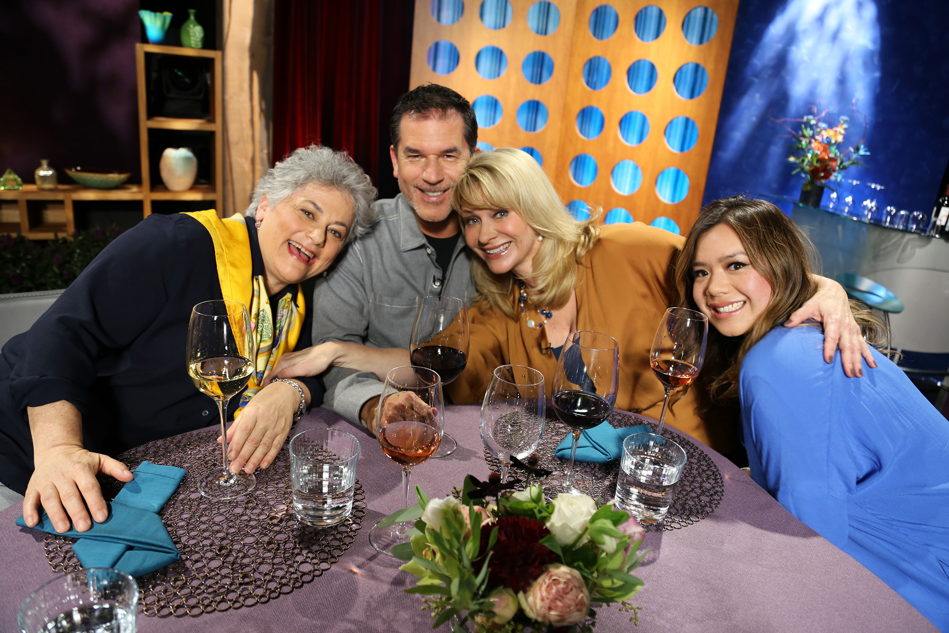 Host Leslie Sbrocco and guests having fun on the set of season 12 episode 8.
