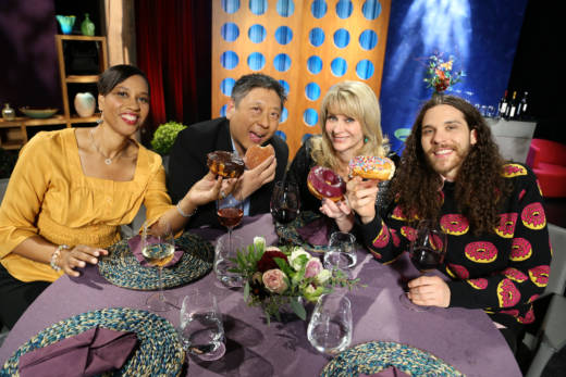 Host Leslie Sbrocco and guests having fun on the set of season 12 episode 6. Photo: Wendy Goodfriend