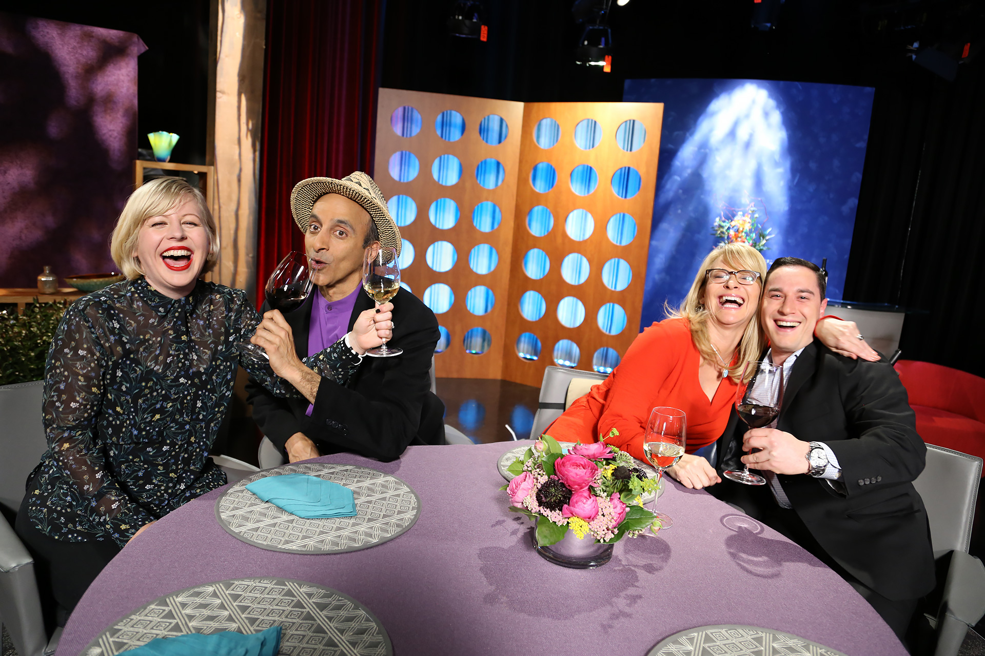 Host Leslie Sbrocco and guests having fun on the set of season 12 episode 15.