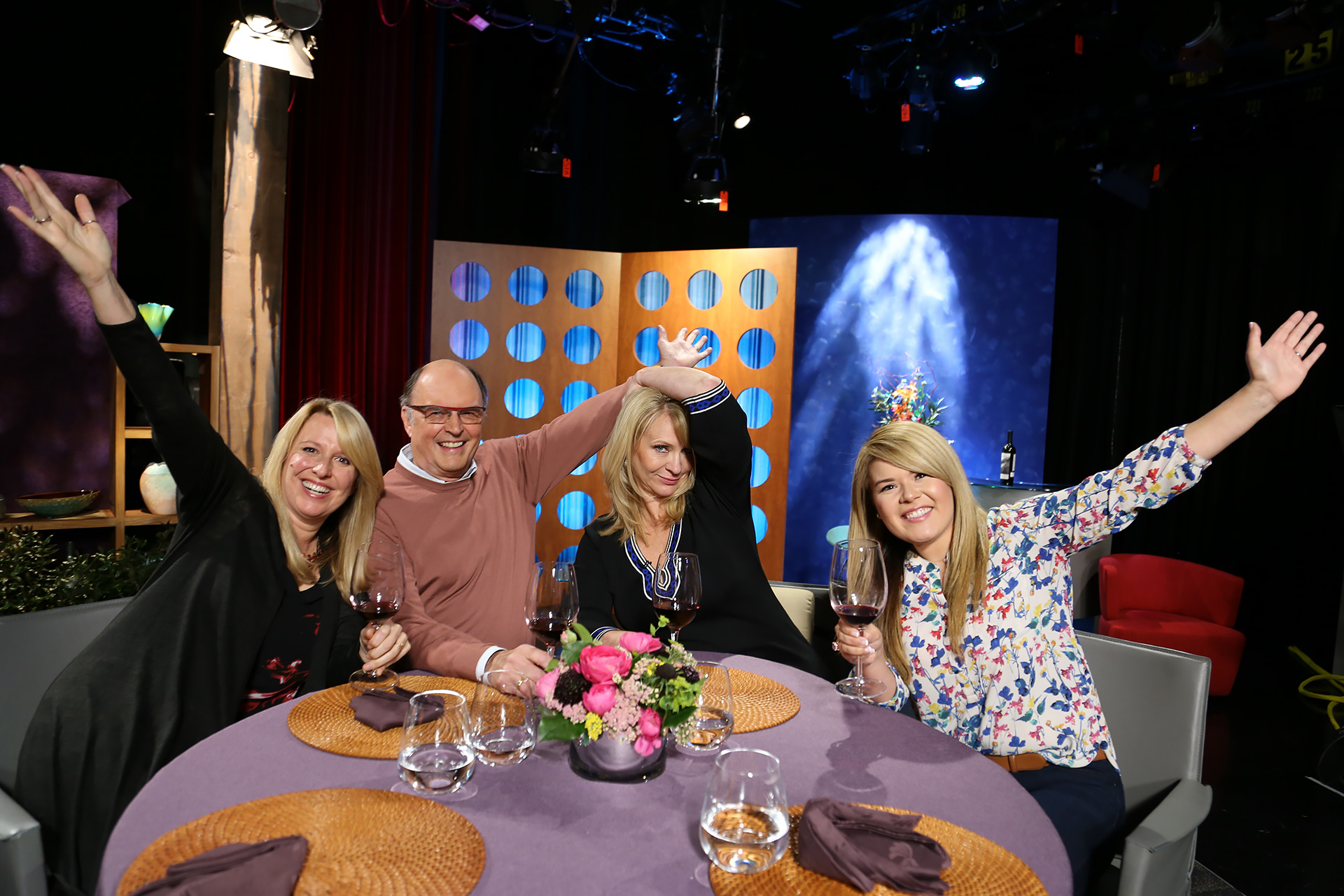 Host Leslie Sbrocco and guests having fun on the set of season 12 episode 17.
