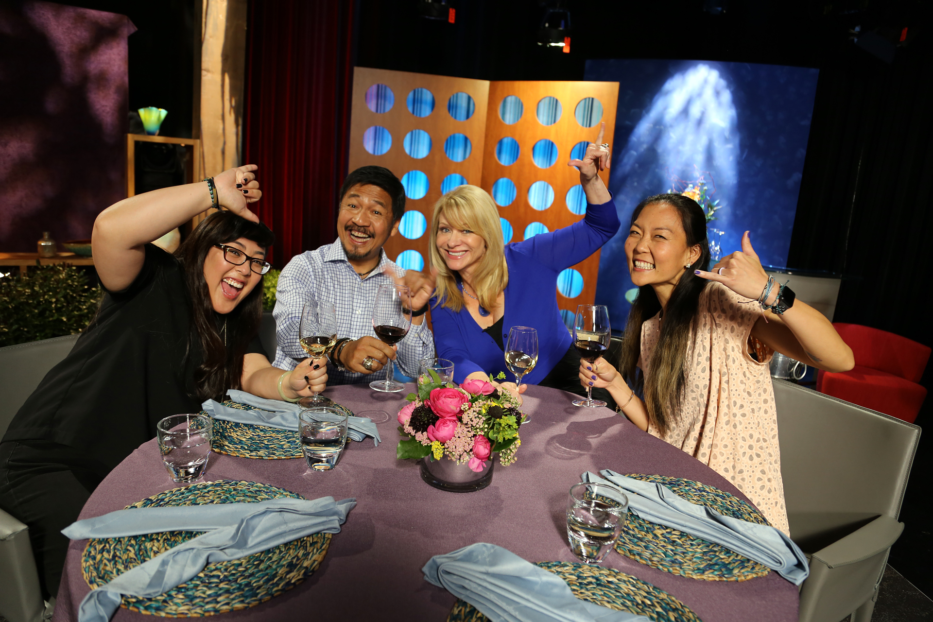 Host Leslie Sbrocco and guests having fun on the set of season 12 episode 20.