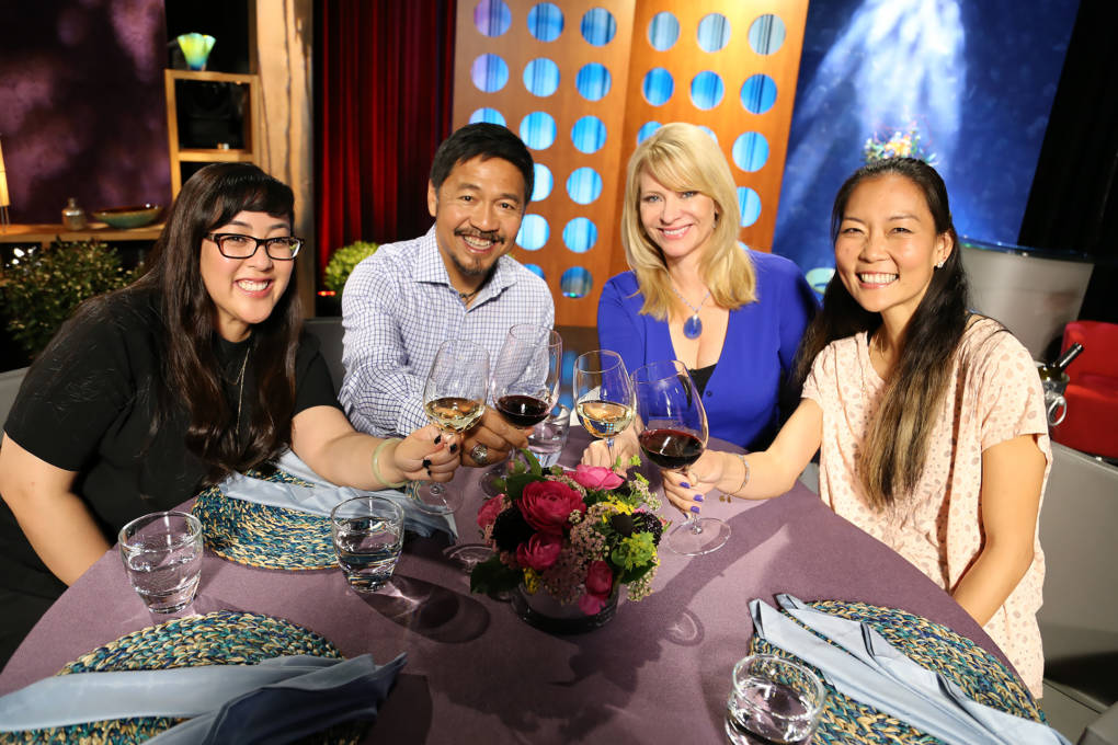 Host Leslie Sbrocco and guests on the set of season 12 episode 20.